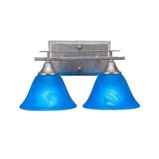 Toltec Uptowne Aged Silver Steel with Blue Italian Glass Shades 2-light Bath Bar