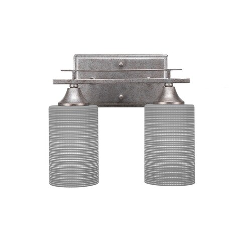 """Uptowne 2 Light Bath Bar Shown In Aged Silver Finish With 4"""" Gray Matrix Glass"""