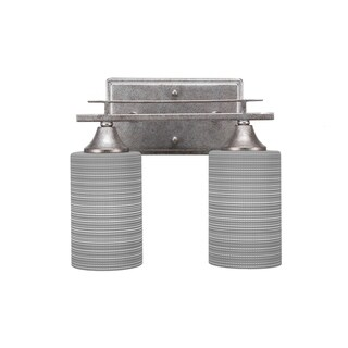 Uptowne Aged Silver Finish Steel with 4-inch Grey Matrix Glass2-light Bath Bar