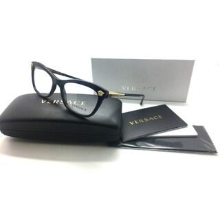 Versace Cateye Shiny Black & Gold Eyeglasses MOD 3224 GB1 52/17/140