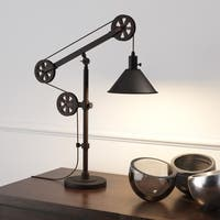 Descartes Industrial Farmhouse Table Lamp in Blackened Bronze with Pulley System