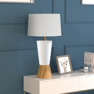 Virta table lamp in wood and ceramic