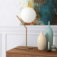 Mati Mid-Century Glam Table Lamp in Gold or Silver Finish