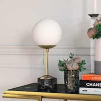 Reagan Deco Table Lamp in Golden Brass and Marble