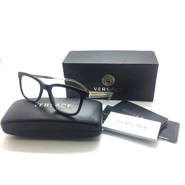 f02c70741d Shop Versace Black Clear Gold Authentic Eyeglasses 52MM MOD 3239 GB1 ...