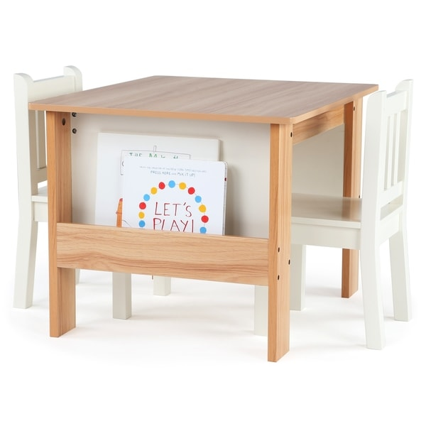 Tot Tutors Journey Bookrack Table 2 Chairs Set Natural White