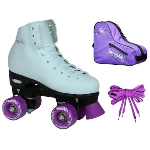 Epic Skates Dark Purple Princess Quad Roller Skates Bundle