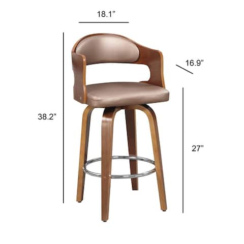 Wood and Faux Leather Mid-Century 27-Inch Swivel Counter Stool