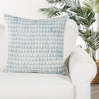 Torres Handmade Geometric Blue/ White Throw Pillow 22 inch