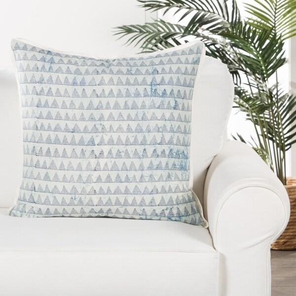 Torres Handmade Geometric Blue/ White Throw Pillow 22 inch