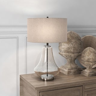 Lagos Farmhouse Table Lamp in Seeded Glass with Flax Shade