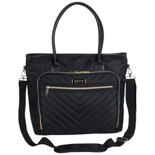 Kenneth Cole Reaction Chelsea Top Zip Quilted Chevron 15in Laptop Business Tote With Gold Plated Hardware