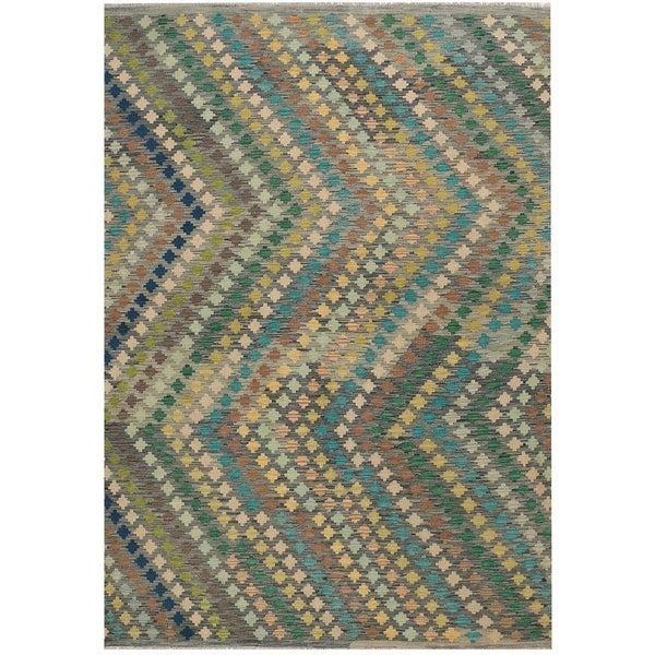 Handmade Vegetable Dye Kilim Wool Rug (Afghanistan) - 6'8 x 9'8