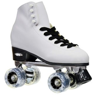 Epic New Classic Ladies White & Smoke LED Light Up High-Top Quad Roller Skates w/ 2 pair of laces & Black PomPoms! (As Is Item)