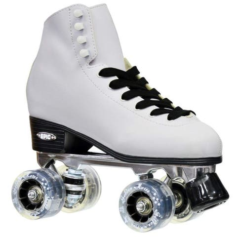 Epic New Classic Ladies White & Smoke LED Light Up High-Top Quad Roller Skates w/ 2 pair of laces & Black PomPoms!