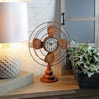 Metal Table Fan Clock 18""