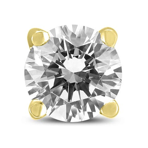 AGS Certified 1 Carat Round Single Stud Diamond Earring in 14K Yellow Gold