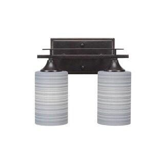 Toltec Uptowne Dark Granite Steel with Grey Matrix Glass Shades 2-light Bath Bar