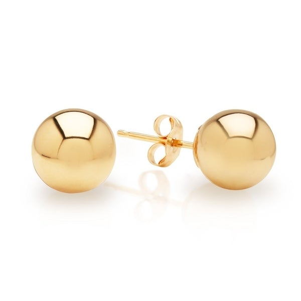 5mm 18k Solid Yellow Gold Round Ball Earrings Stud With Push Backs For Women High