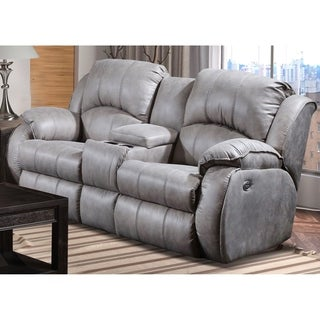 Southern Motion's Cagney Grey Power Headrest Double Reclining Console Loveseat