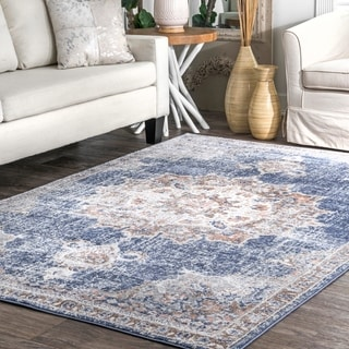 nuLOOM Transitional Vintage Claudine Blooming Distressed Pendant Ornament Border Area Rug