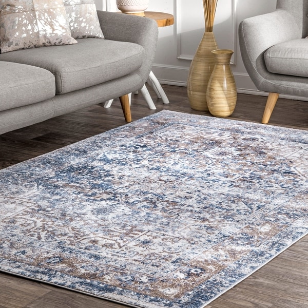 nuLOOM Blue Transitional Classical Herver Florid Distressed Persian Medallion Border Area Rug