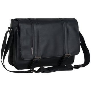 Ben Sherman Faux Leather Flapover Crossbody 15in Laptop Messenger Bag With Tablet Pocket