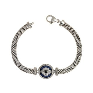 Curata 925 Sterling Silver 7-Inch Blue and White Cubic Zirconia Evil Eye Beaded Mesh Bracelet (15mm)