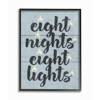 The Stupell Home Décor Collection Hanukkah Eight Nights Eight Lights Framed Art, Proudly Made in USA - Multi-color