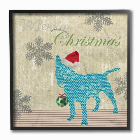 The Stupell Home Décor Collection Merry Christmas Dog w.Ornament and Snowflakes Framed Art, Proudly Made in USA