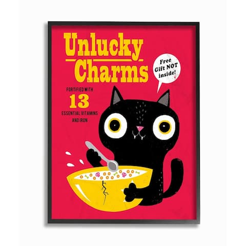 The Stupell Home Décor Collection Unlucky Charms Black Cat Style Cereal Box Art Framed Art, Proudly Made in USA - Multi-color
