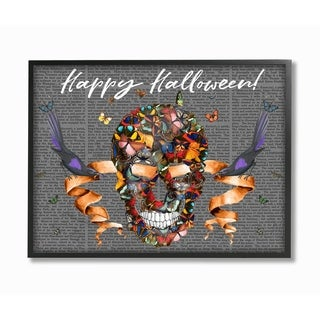 The Stupell Home Décor Collection Happy Halloween Butterfly Skull Framed Art, Proudly Made in USA - Multi-color