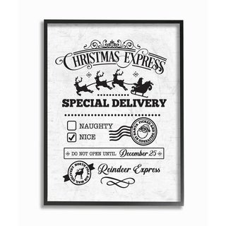 The Stupell Home Décor Collection Christmas Express Package Special Delivery Framed Art, Proudly Made in USA - Multi-color