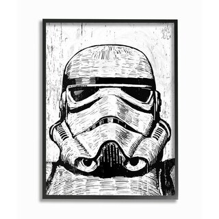 The Stupell Home Décor Collection Black and White Star Wars Stormtrooper Art, Proudly Made in USA - Multi-color