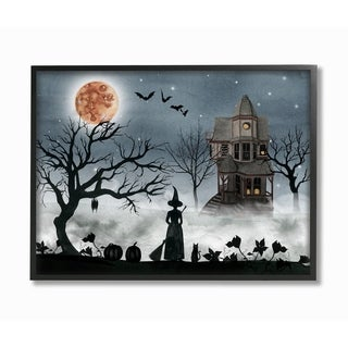 The Stupell Home Décor Collection Halloween Witch in Full Moon Haunted Framed Art, Proudly Made in USA - Multi-color