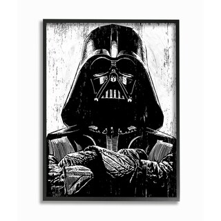 The Stupell Home Décor Collection Black and White Star Wars Darth Vader Art, Proudly Made in USA - Multi-color