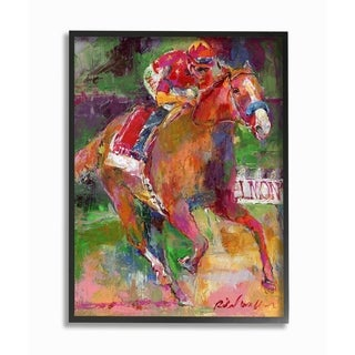 The Stupell Home Décor Collection Galloping Horse and Jockey Race Painting Framed Art, Proudly Made in USA - Multi-color
