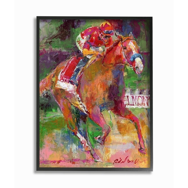 The Stupell Home Decor Collection Galloping Horse And Jockey Race Painting Framed Art Proudly Made