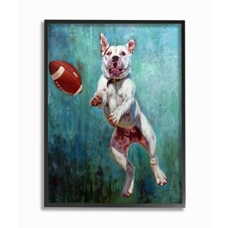 The Stupell Home Décor Collection Bull Dog Playing Football Airborn Painting Framed Art, Proudly Made in USA - Multi-color