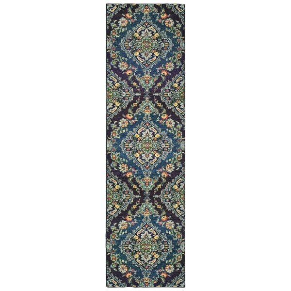 """Imperial Luxe Navy/ Blue Area Rug - 2'7"""" x 10' Runner"""