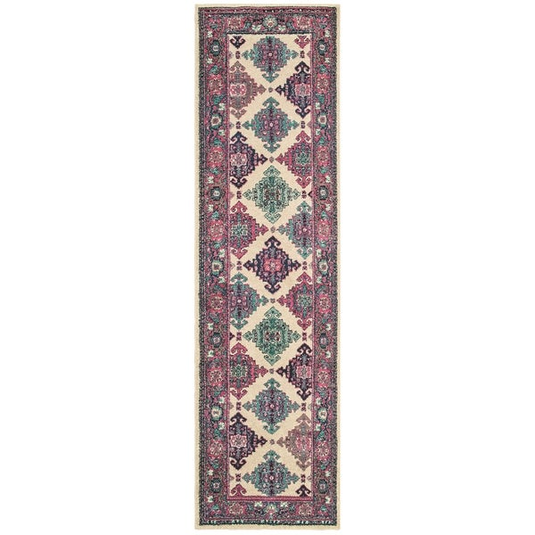 """Gypsy Medallions Ivory/ Pink Area Rug - 2'7"""" x 10' Runner"""