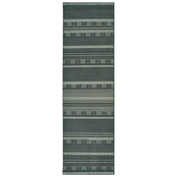 "Porch & Den Norwood Geometric Stripes Black/ Ivory Rug - 2'3"" x 7'6"" Runner"