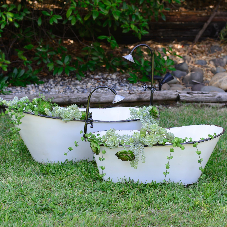 White And Black Metal Bathtub Planters (Set Of 2)