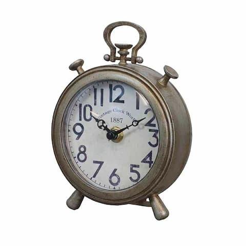 Antique Silver Metal Table Top Clock