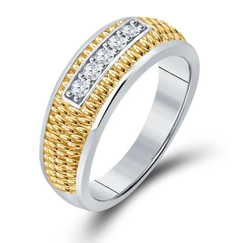 Divina 14KT Two Tone Gold 1/4ct TDW Diamond Men's Wedding Band