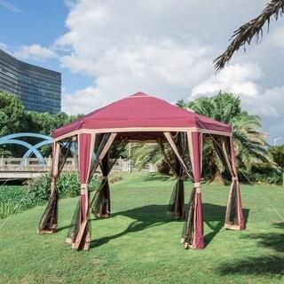 Kinbor 11.8' x 10.2' Outdoor Metal Gazebo Garden Gazebo Canopy Hexagon Vented Gazebo with Mosquito Netting