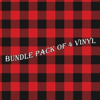 Red Plaid Pattern Vinyl Sheets Heat Transfer Vinyl Patterned Vinyl BUNDLE PACK - Pack of 4