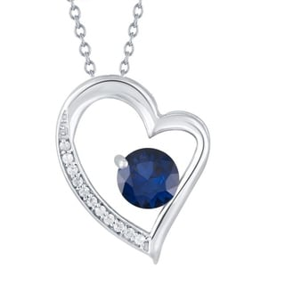 Link to Sterling Silver with Blue Sapphire and Natural White Topaz Heart Pendant With 18 inch Chain Similar Items in Necklaces