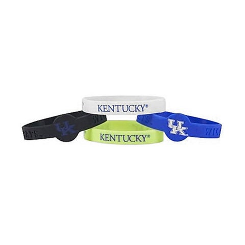 NCAA Kentucky Wildcats Sports Team Logo Silicone Bracelets - 4 Pack, One Size, Multicolor