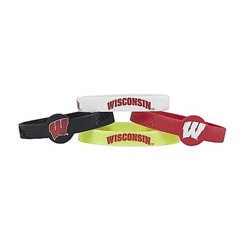 NCAA Wisconsin Badgers Sports Team Logo Silicone Bracelets - 4 Pack, One Size, Multicolor